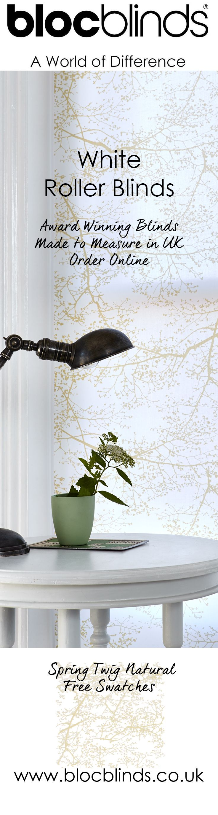 White Roller Blinds are always a classic choice. Add a little interest with a patterned white fabric such as Spring Twig White. Order free fabric swatches today.