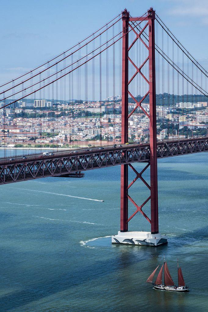 River Tejo Bridge in Lisbon, Portugal