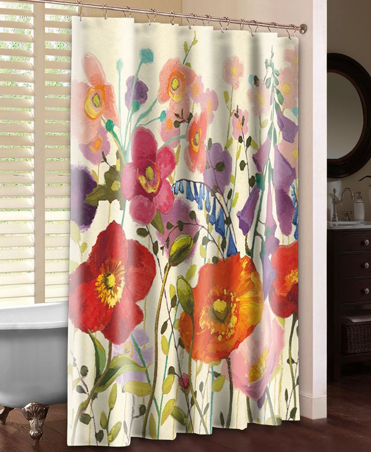Floral Shower Curtain, Couleur Printemps III by Shirley