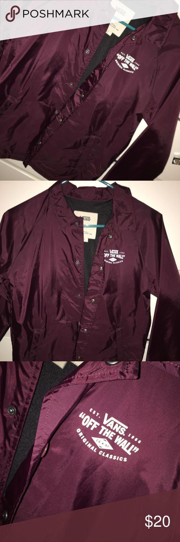 VANS Windbreaker Burgundy lightweight VANS off the Wall windbreaker - Unisex Vans Jackets & Coats Raincoats