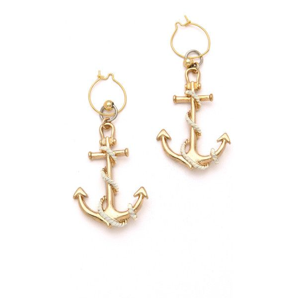 Soo Ihn Kim Logan Anchor Earrings (130 BRL) ❤ liked on Polyvore featuring jewelry, earrings, accessories, brincos, nautical, 18 karat gold earrings, anchor earrings, anchor jewelry, nautical jewelry and earring jewelry