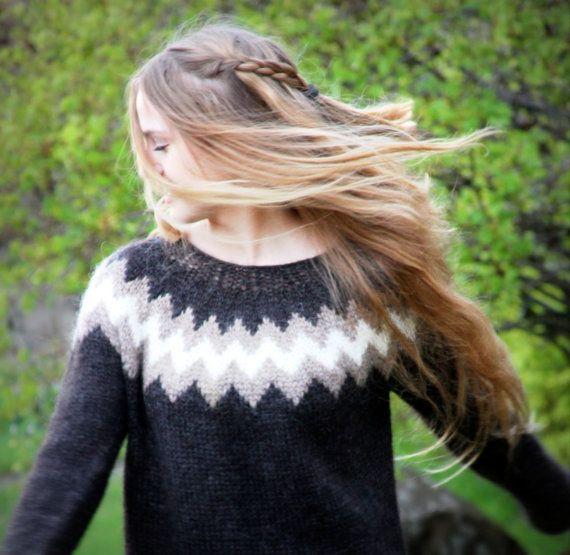 Icelandic Sweater, Lopapeysa, Handmade, 100 % pure Wool, Custom made, Black, Tan and White, Warm, Cozy, Trendy Knit