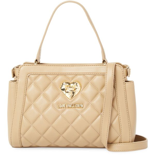 Love Moschino Women's BAG NAPPA PU QUILTED SAND - Cream/Tan ($129) ❤ liked on Polyvore featuring bags, handbags, shoulder bags, shoulder strap bags, love moschino handbags, beige quilted handbag, cream shoulder bag and tan handbags