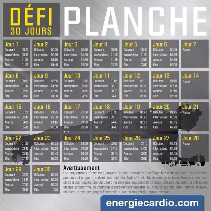 """Défi """"Planche"""" 30 jours - Différents niveaux"""