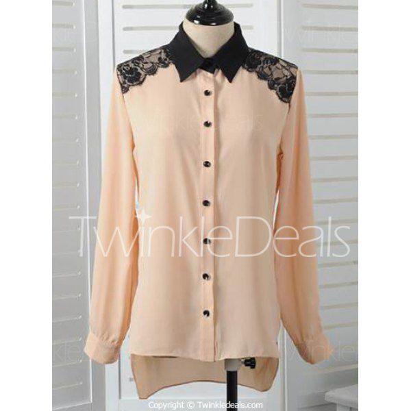 Stylish Shirt Collar Long Sleeve Lace Embellished Single-Breasted Women's Shirt