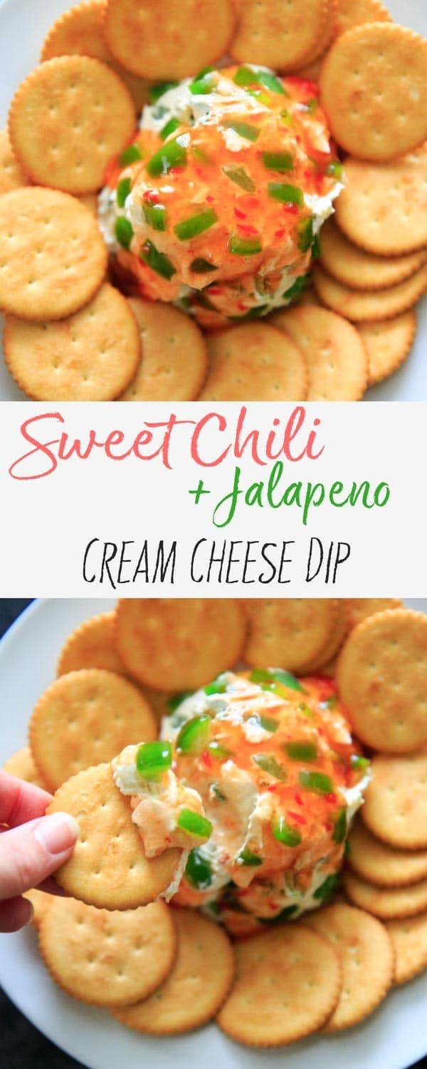 Sweet Chili Cream Cheese Dip - a super easy, 4 ingredient cheese ball appetizer that is perfect for a party snack or shareable dip. Sweet and spicy and delicious! #cheese #appetizer #cheeseball #trialandeater