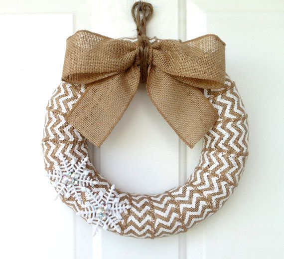 Winter Burlap Wreath - Modern Christmas Wreath - White Chevron Burlap Wreath with Glittery Snowflakes - Choose your size on Etsy, $36.50