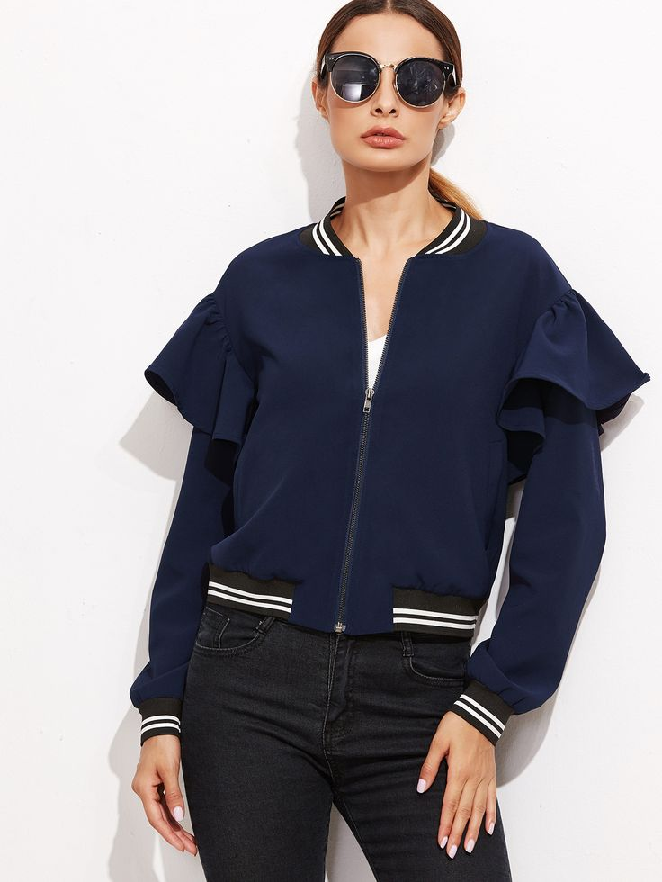 Navy Striped Trim Ruffle Bomber Jacket — 0.00 € -----------------color: Navy size: L,M,S,XS