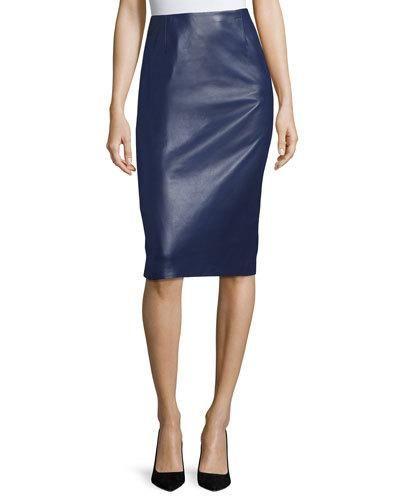 B3UFR Carolina Herrera Leather Pencil Skirt, Navy
