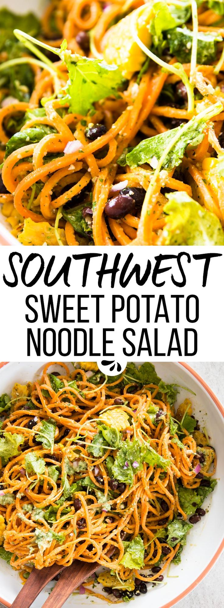 Are you looking for the best cold salad for summer? Try this southwest sweet potato noodle salad! It packs a bunch of flavors into one bowl, and the avocado pesto dressing is out of this world! This is the only healthy, clean eating, vegan summer recipe you need this year - easy, a little spicy and packed with fiber from the black beans, corn and baby kale. via @savorynothings