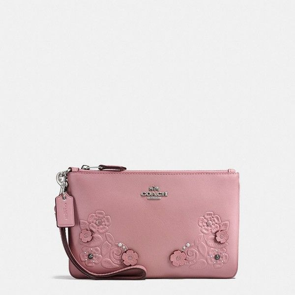 Coach Small Wristlet ($125) ❤ liked on Polyvore featuring bags, handbags, clutches, coach handbags, genuine leather purse, leather clutches, coach clutches and rose handbag
