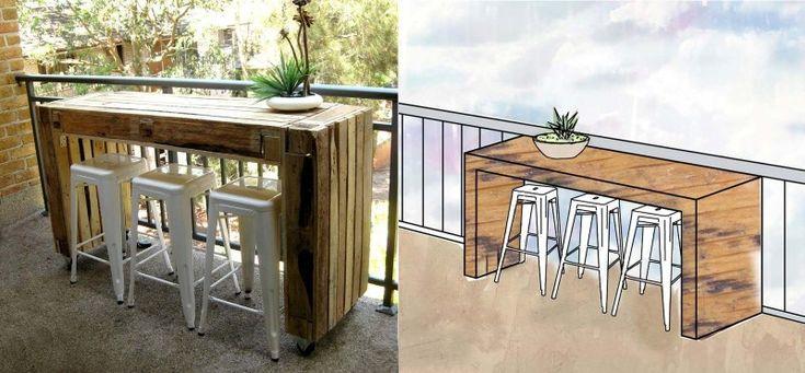 Hoge tafel van pallets voor gebruik met barkrukken for Pallet tafel zelf maken