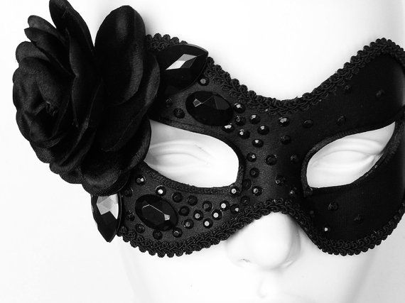 Black Masquerade Mask Embellished With Rhinestones And by SOFFITTABlack Masquerades Masks, Masks Embellishments, Masquerade Masks