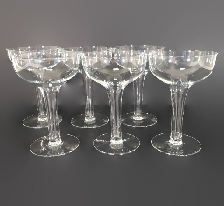 New to revendeur on etsy set of six vintage champagne coupes hollow stem champagne glasses - Champagne flutes hollow stem ...