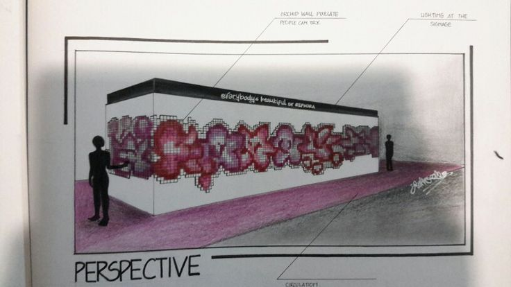 Pop up store Project for SEPHORA : PIXELATED ORCHID WALL TREATMENT #sephora