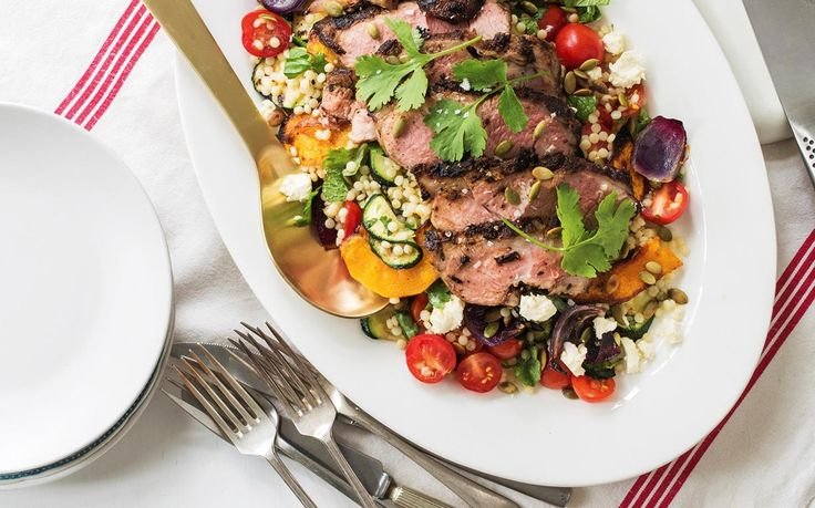 Butterflied lamb leg with pumpkin and couscous salad recipe - By Woman's Day (NZ edition), A twist on the Kiwi family fave made in half the time