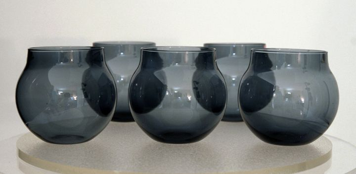 "Timo Sarpaneva ""i-lasi"" design for Iittala smoke blue Aroma sherry glass set 1955 to 1966."