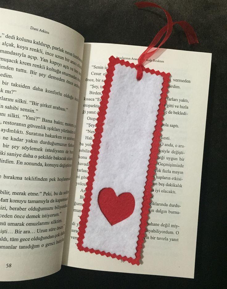 Keçe kalp kitap ayracı- Felt bookmarker