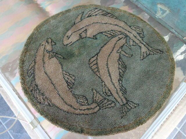 Beautiful Rare Folk Art Grenfell Salmon Hooked Rug Mat w/ Orig. Label AAFA