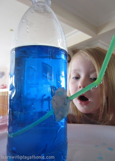 Science for Kids: How to make a water bottle fountain with a few simple materials. Show children that air is present and takes up room, even though we can't see it!