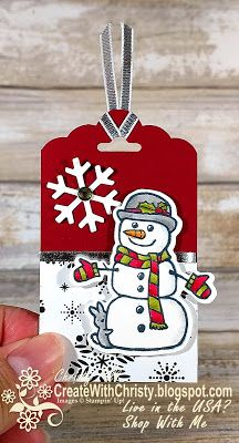 Complete instructions included -   Stampin' Up! Seasonal Chums Bundle - handmade Christmas tag -  Create With Christy: The Remarkable InkBig Blog Hop - Christy Fulk, Independent SU! Demo