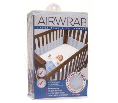 Airwrap Cot bumper for four sided cot Cot dimensions are 131 cm long x 75 cm wide