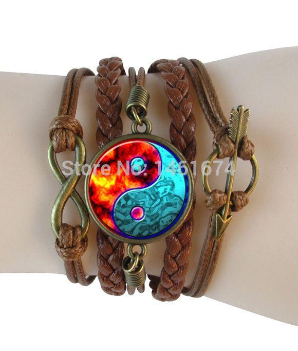 Инь Ян кожаные браслеты многослойные браслеты бесконечность мужчины браслет стеклянный купол wrap браслет инь ян Даосизм браслеты ювелирные изделия