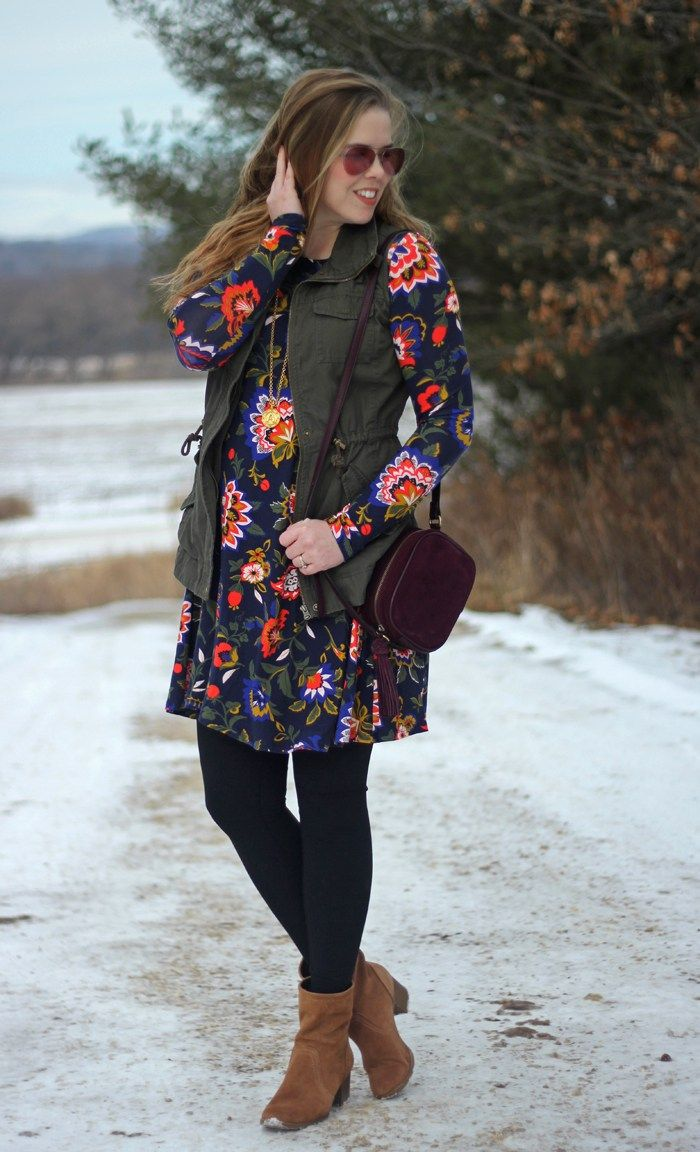 bf1ccc0e02c6f Floral Dress and Utility Vest: Old Navy swing dress in winter floral, green utility  vest, black leggings, brown booties, maroon purse, Julie Vos pendant ...