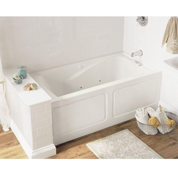Everclean Integral Apron 5 Ft. Right Drain Whirlpool Tub In White