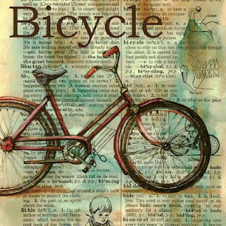 Bicycle Mixed Media Drawing on Distressed, Dictionary Page - flying shoes art studio