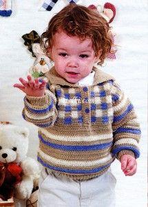 Пуловер с воротником-поло и жаккардом