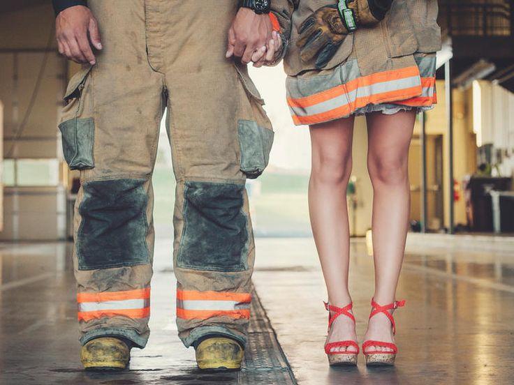 Romantic Fire Station Engagement Shoot | 10 Fun Engagement Shoot Ideas We Love | https://www.theknot.com/content/creative-engagement-photo-ideas