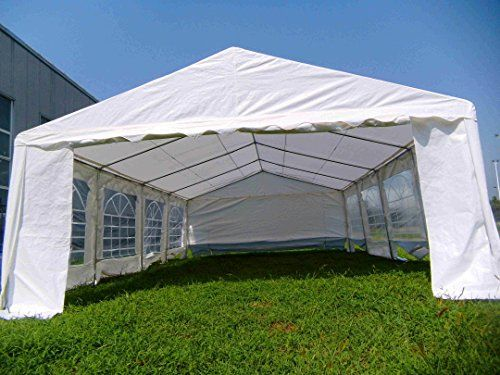 American Phoenix Canopy Tent 16×26 foot Large White Party Tent Gazebo Canopy Commercial Fair Shelter Car Shelter Wedding Events Party Heavy Duty Tent- White  Industrial duty zips on the front and side entry walls, Heavy-duty Velcro and bungee cord straps, White powder coated steel frame , Easy to set up Full instructions and care manual, 5mm steel ropes(2 lines) as roof support. Please Note: We advise customers to never leave canopy up overnight or under bad weather conditions. We wi..