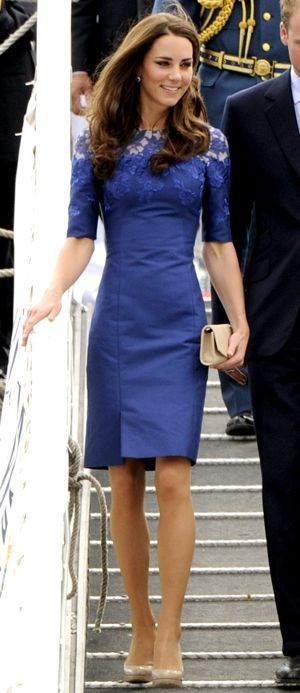 """7/3/11 ♛ Quebec City, Canada WKW ♛ ♚Kate repeated her sapphire and diamond earrings, ♚ LK Bennett Sledge pumps ♚clutch. Erdem """"Jacquenta"""" Dress"""