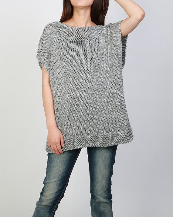Hand knit Tunic sweater grey eco cotton woman sweater by MaxMelody                                                                                                                                                                                 Mais