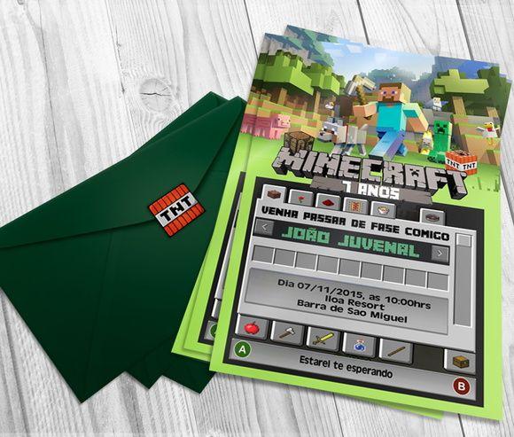 Convite Minecraft                                                                                                                                                     Mais