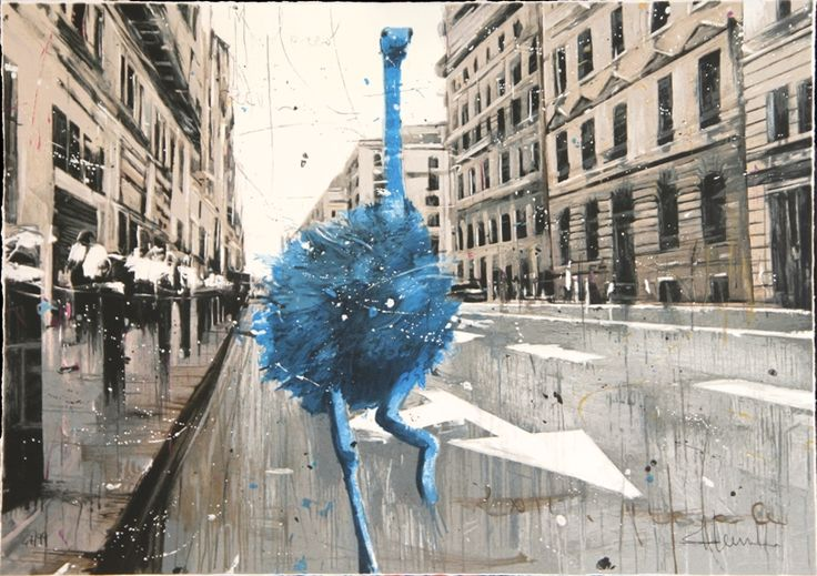 Misplaced blue ostrich, silkscreen ed 100