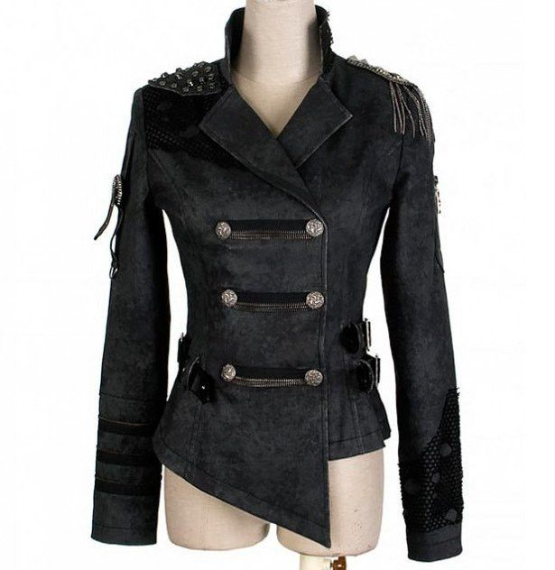Goth Punk Double Breasted Jacket https://www.highvoltageclothing.com  #clothing #biker #musthave #loveit