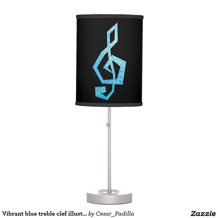 Vibrant blue treble clef illustration table lamp