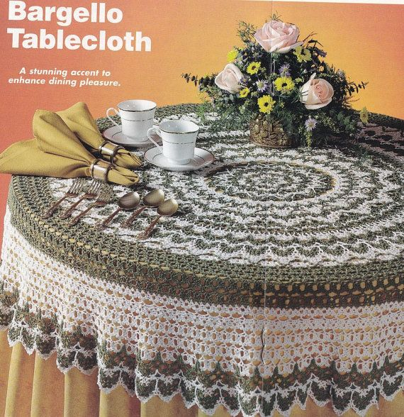 Bargello Tablecloth Crochet Pattern   Round Christmas Tablecloth