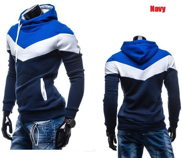 Autumn&Winter Men's Slim Mixed Colors Thicker Fleece Hooded Pullover Sweatshirt Men Coat,Men Casual Jacket
