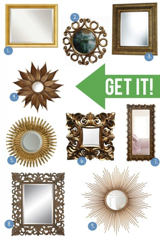 Add a splash of gold to your space with these gold mirrors from @Better Homes and Gardens Style Spotter, Michael Wurm, Jr
