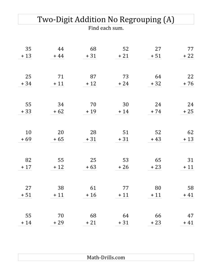 The 2 Digit Addition With No Regrouping A Math Worksheet From The
