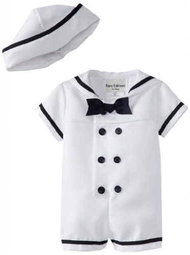 Amazon.com: Rare Editions Baby Boys Infant White Nautical Bodysuit and Sailor Hat Set - 3 to 24 Months: Clothing