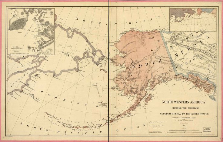 North Western America depicting the territory of Alaska in 1867, immediately after the Alaska Purchase