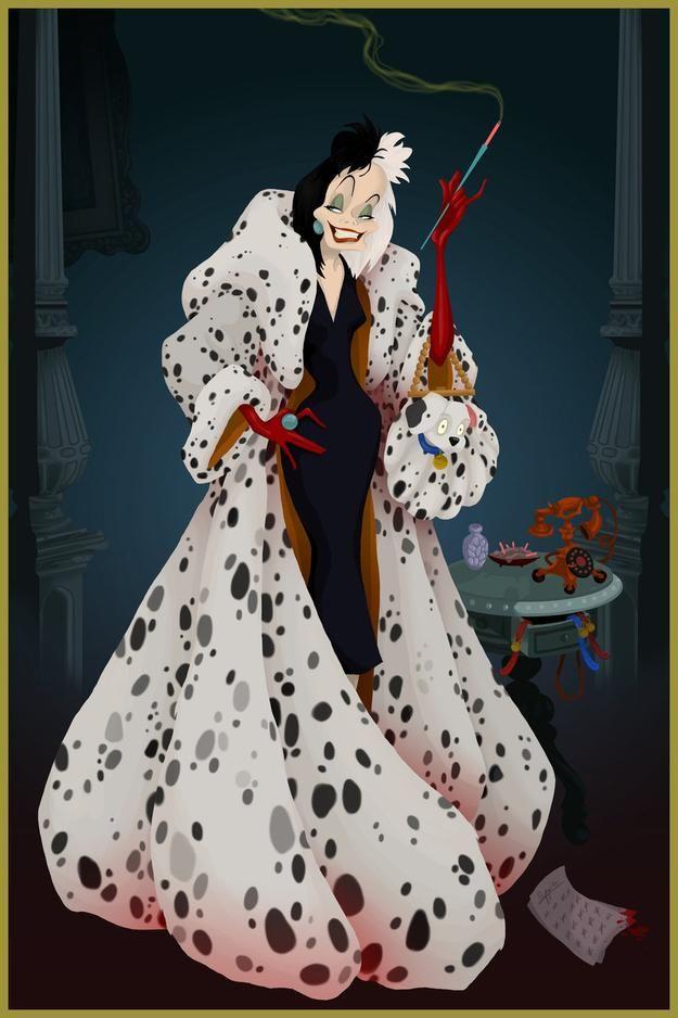 『101匹わんちゃん』ダルメシアンの子犬たちの毛皮のコートを着たクルエラ・ド・ヴィル★ ディズニー・ヴィランズのイラスト画像