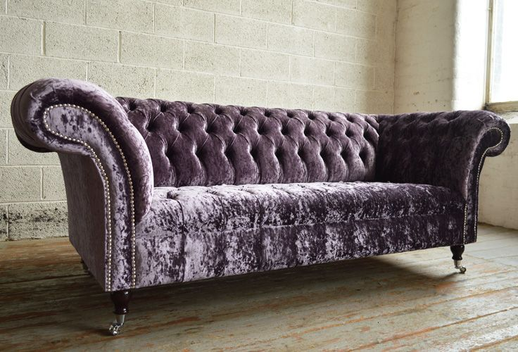 Modern British handmade Harlow deep buttoned Chesterfield #Sofa, shown in a Aubergine crushed Glitz Velvet. 3 seater | Abode Sofas