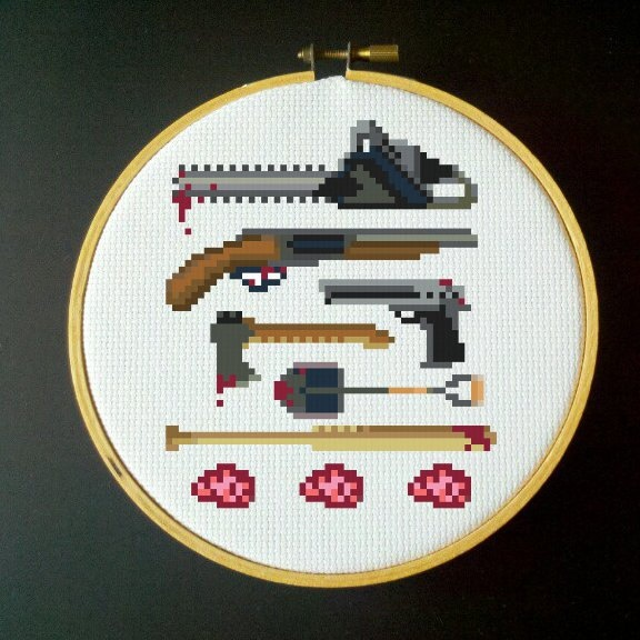 Zombie Killer Cross Stitch Pattern - PDF- could just do the guns Christmas gift for Mr. Schroeder?