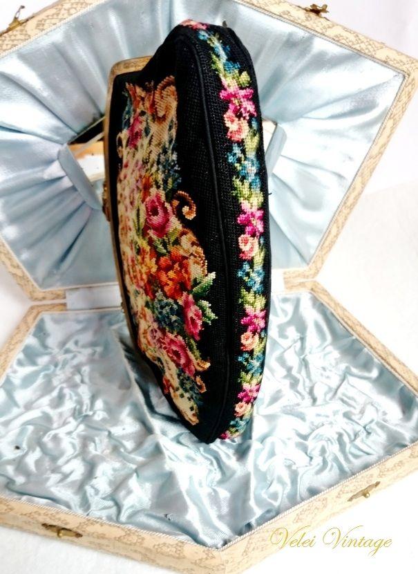 BOLSO DE PETIT POINT PRINCIPIOS SIGLO XX   Velei Vintage : Bolsos antiguos, bisutería barroca, complementos, antigüedades, cuadros, arte en general.