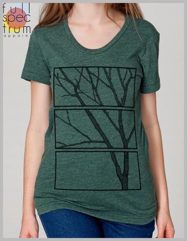 Women's Unique T Shirt Tree Print Nature Design American Apparel Scoop Eco Friendly Tee by FullSpectrumApparel on Etsy https://www.etsy.com/listing/154681245/womens-unique-t-shirt-tree-print-nature